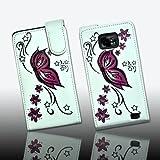 Premium Handy Tasche Case Fliptasche Kunstledertasche in weiß mit Muster Butterfly - Design Flip3 für Samsung Galaxy S2 i9100 / Samsung Galaxy S II i9100