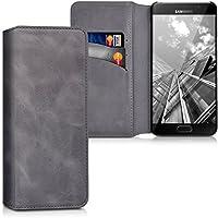 kalibri Hülle für Samsung Galaxy A5 (2016) - Wallet Case Handy Schutzhülle echtes Leder - Klapphülle Cover mit Kartenfach und Ständer Dunkelgrau
