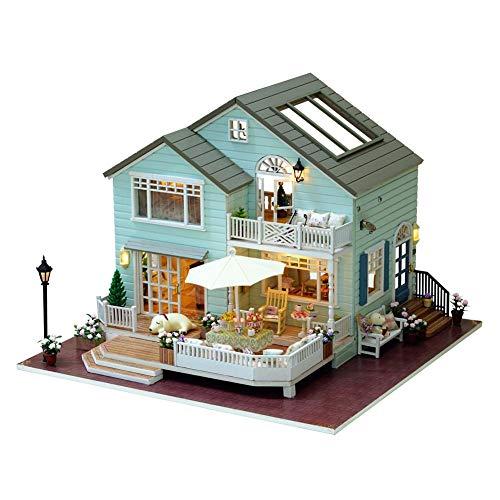 enhaus Miniatur Haus Selber Bauen Zum Basteln Zubehör Holz Lernspielzeug Spielzeug Kinder 3D Königin Dorf Ohne Sportwagen Staub Schut Zkleber und Werkzeuge mit Musik Bewegung ()