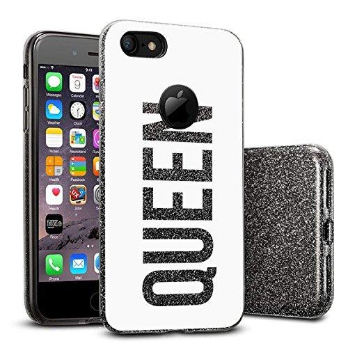 finoo | iPhone SE Schwarze bedruckte Rundum 3 in 1 Glitzer Bling Bling Handy-Hülle | Silikon Schutz-hülle + Glitzer + PP Hülle | Weicher TPU Bumper Case Cover | Katze auf Ast Queen White