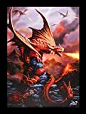 Kleine Leinwand Feuer Drache | Fire Dragon 25 x 19 cm | Anne Stokes Age of Dragons | Fantasy Bild Poster
