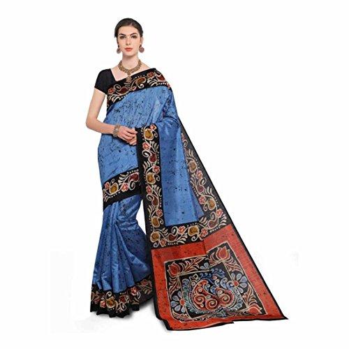 Printed, Paisley Bhagalpuri Art Silk Saree (Blue, Black) Paisley Printed Silk Dress