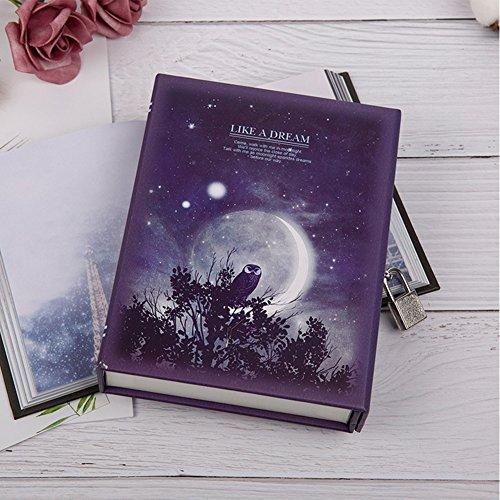 LanLan Notizbuch Stilvolle einzigartige Moonlight Notebook Journal Tagebuch Buch mit Schloss und - Owl Papier Gewicht