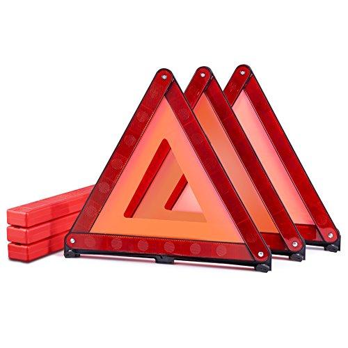 MYSBIKER Warndreieck mit Aufbewahrungsbox, Sicherung von Unfall- und Gefahrenstellen für Unfälle und Pannen, Faltbares Notfalldreieck, reflektierendes Warndreieck (RED, 3 Pack) -