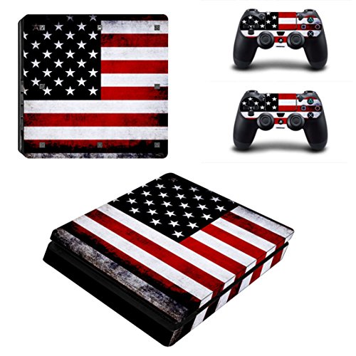 Stillshine PS4 Slim selbstklebender Aufkleber für Playstation 4 Slim Konsole & 2 Dualshock Controller im Set rot Flags America (Flag Fantasy Final)