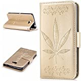 Sony Xperia M2 Case,BONROY® Sony Xperia M2 Maple leaf embossed pattern PU Leather Phone Holster Case, Flip Folio Book Case Wallet Cover with Stand Function, Card Slots Money Pouch Protective Leather Wallet Case for Sony Xperia M2