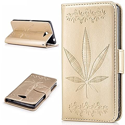 Sony Xperia M2 / M2 Case Leather, Ecoway Maple leaf embossing PU Leather Stand Function Protective Cases Covers with Card Slot Holder Wallet Book Design Detachable Hand Strap for Sony Xperia M2 / M2 - Gold