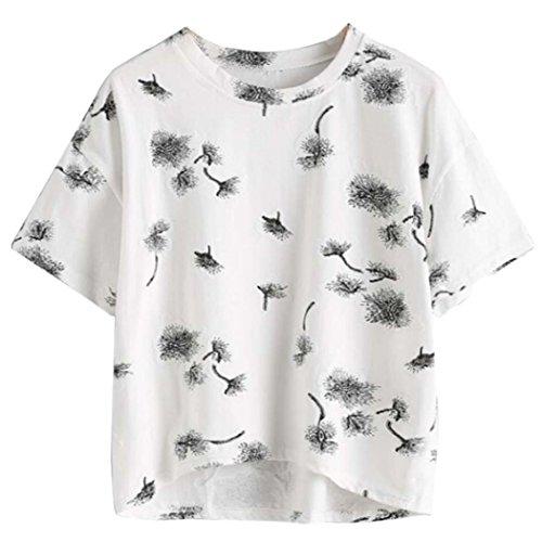 WOCACHI Damen Sommer T-Shirts Frauen Mode Kurzschluss Hülse O-Ansatz Netter Kaktus Bedruckte T-Shirt Bluse Tops Weiß (M/34, (Kostüm Camo Schmuck)