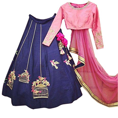 TexStile Blue Colour Taffeta Silk Semi-stitched Lehenga Choli For Womens