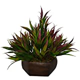 #6: Thefancymart Artificial Bamboo leaves plant (size 7.5 inchs/ 20 cms) with wood Hexagun pot-1380