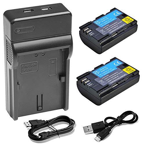 PHOTO MASTER 2x Batteria LP-E6/LP-E6N + USB Caricabatteria per Canon EOS 80D, EOS 70D, EOS 60D, EOS 60Da, EOS R, EOS 5D Mark II, 5D Mark III, EOS 5D Mark IV, EOS 5DS, 5DS R, EOS 7D Series