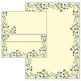Blütenzauber im modernen Vintage-Stil - Set - Briefpapier + Briefumschläge DIN lang ohne Fenster (20 Blatt Briefpapier + 20 Kuverts ohne Mappe)