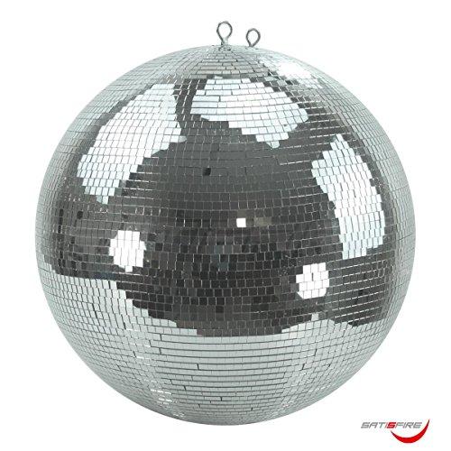 Spiegelkugel 50cm, 10x10mm Facetten aus Echtglas Sicherheitsaufhängung hochwertig verarbeiteter Safety Mirrorball mit Kunststoffkern Diskokugel mit durchgehender Metallachse und Absturzsicherung