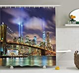 tgyew Apartment Decor Shower Curtain Set, Manhattan Skyline with Brooklyn Bridge and The Towers of Lights in New York City, Bathroom Accessories, 60W X 72L Inches Extralong, Puple Green