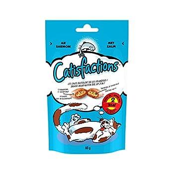 CATISFACTIONS - Au saumon - Friandises pour chats -Sachet de 60 g - Lot de 6