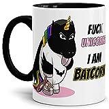 Tassendruck Unicorn/Einhorn / Farbtasse Innen und Henkel Schwarz mit Spruch - Kaffeetasse Mug Cup Batcorn - Qualität Made in Germany