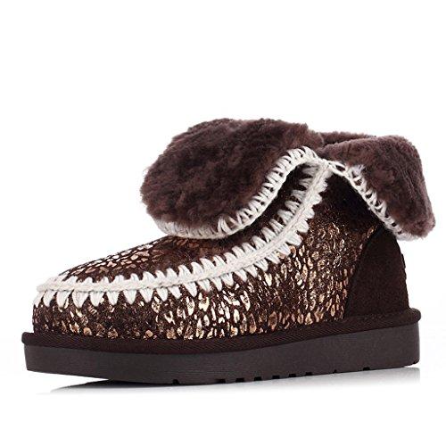 Schneestiefel Winter-Schnee-Aufladungen weibliche kurze Stiefel flache Baumwollschuhe Stiefel ( Farbe : Schokoladen-Farben , größe : 38 ) (Schokolade Kinder-schuhe Jugend)