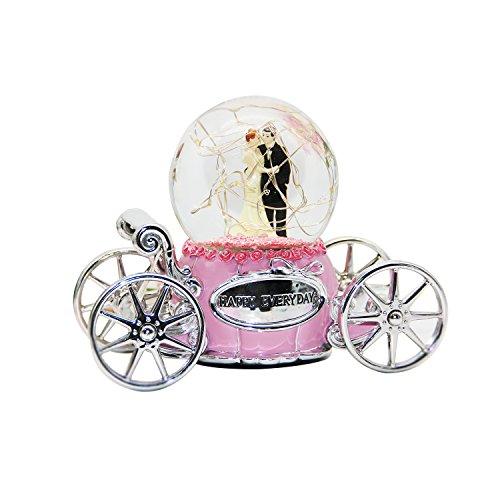 Non Rock sposa e sposo Pink Music Box Water Globe Snow Crystal Ball torcia a LED con musica del castello nel cielo