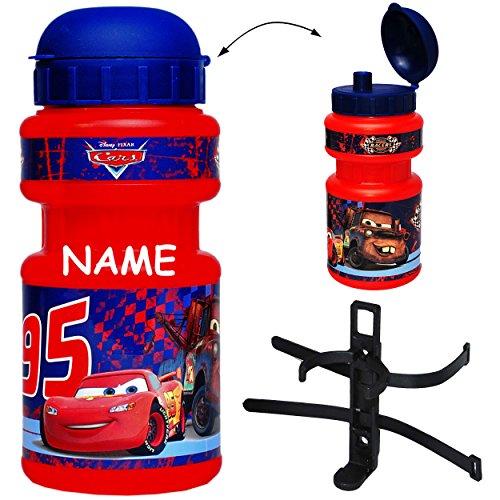 Fahrradtrinkflasche -  Disney Cars  - Lightning McQueen - mit Halterung incl. Namen - Fahrradflasche Fahrrad Trinkflasche - Halter für Kinder Jungen Car AUT..