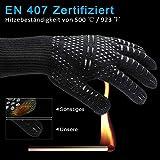 Karrong Grillhandschuhe Hitzebeständig Ofenhandschuhe, BBQ Handschuhe Hitzebeständig bis zu 500℃ / 932℉ mit EN407 Zertifizierte für BBQ, Grill, Kochen, Backen, Schweißen, Schwarz(1 Paar) - 3