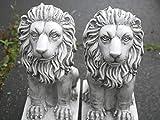 HomeZone® 2 Stück Stein-Effekt Harz Sitzende Löwen Tier Garten Ornamente Handarbeit Skulpturen Rasen Statuen Antik Deko Wildtiere Skulpturen