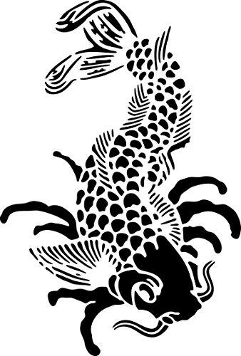 UNLIMITED STENCILS XL Airbrush Tattoo Schablone KOI, FISCH # 145 (Temporäre Tattoos Fisch Koi)
