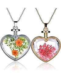 yumilok 2pcs Rojo/Amarillo Real seco flores muestra transparente cristal aleación corazón botella colgante collar para las mujeres/niñas, Jersey cadena