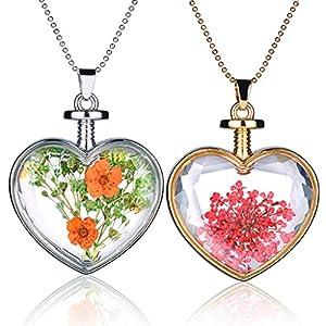 Yumilok Trockene Blumen Transparent Herz Anhänger Halskette Legierung Glas Flasche Kettenänhanger für Damen Mädchen, 2 Stücke
