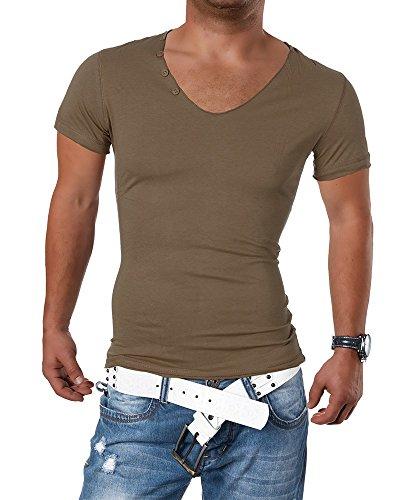 M416 STEGOL Herren Shirt Poloshirt T-Shirt Kurzarm V-Neck Clubwear V-Ausschnitt Coffee