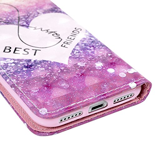 iPhone 7 Lederhülle iPhone 7 Flip Case YOKIRIN Premium PU Leder Wallet Case Handyhülle TPU Innenschale Handy Cover Bumper Etui Brieftasche Laser Streifen PU Cortex Schutzhülle Tasche Bookcase mit Kart Liebe