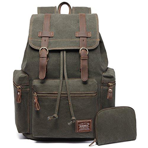 Guten Hoffnung, Damen Leder (Vintage Rucksäcke,Kaukko Canvas Laptop Rucksack Damen Herren Schulrucksack Daypack Stylisch Backpack für Outdoor Wanderreise Camping mit Großer Kapazität (Grün 702-1))
