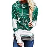 HULKY Damen Vintage Kapuzenpullover Weihanchtens Print Swearshirrt Langram mit Kapuze Baggy Herbst Winter Pullover Bluse Tops(grün,L)