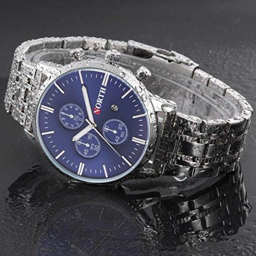 Preisvergleich Produktbild Sansee Kalender Quarz Armbanduhr Edelstahl Armband Herren Uhr-NORTH Männer 's dritten Grad wasserdichte Silber Streifen Quarzuhr N - 6010 (Blau)