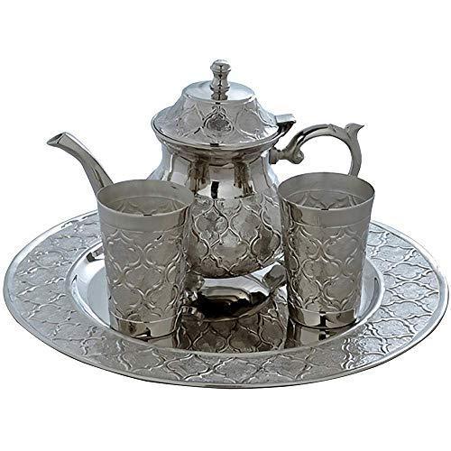 Traditionelles marokkanisches Tee- und Kaffeeservice für 2 Teekanne, Tassen und Tablett Arabesque Tee