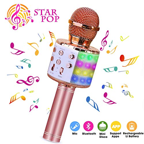 Wireless Karaoke Microphone, ShinePick 4 in 1 Bluetooth Handheld Portable Speaker Machine, Home KTV Player with Record Function, Compatible with Android & iOS Devices