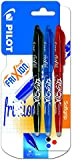 Pilot Frixion Erasable Rollerball 0.7 mm Tip - Black/Red/Blue, Pack of 3