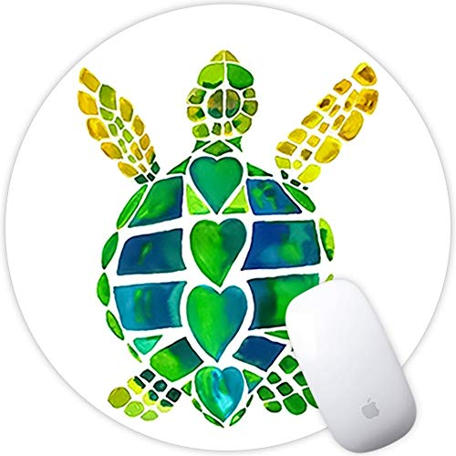 Weneth Runde Mauspad Cooles Gaming Mousepad rutschfest Mausunterlage Gummi Ränder Mauspad für Laptop & Reise-Quallen-Einhorn-Schildkröte