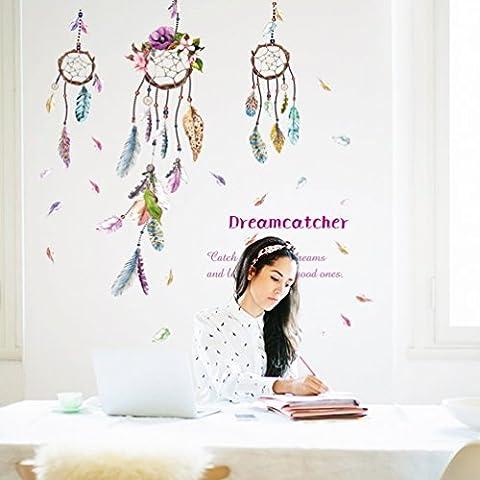 Feather Glocken (Abnehmbar, Wasserdicht, Grün) für Wohnzimmer Schlafzimmer Büro Wohnheim Hintergrund Dekoration,Mehrfarben