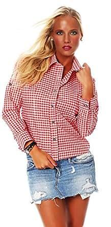 10614 Fashion4Young Damen Dirndlbluse Bluse Trachtenbluse Dirndl Trachten Oktoberfest Hemd Lederhose Dirndl (34, Rot)