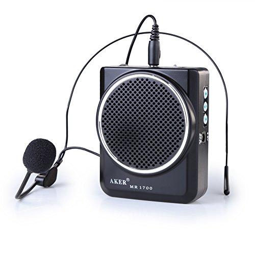 AKER MR1700 Amplificateur voix portable / haut parleur avec micro casque + pile lithium 2000mAh pr les guides, les enseignants, conférenciers, animateurs