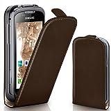 moex Samsung Galaxy Xcover 2 | Hülle Dunkel-Braun 360° Klapp-Hülle Etui Thin Handytasche Dünn Handyhülle für Samsung Galaxy Xcover 2 Case Flip Cover Schutzhülle Kunst-Leder Tasche