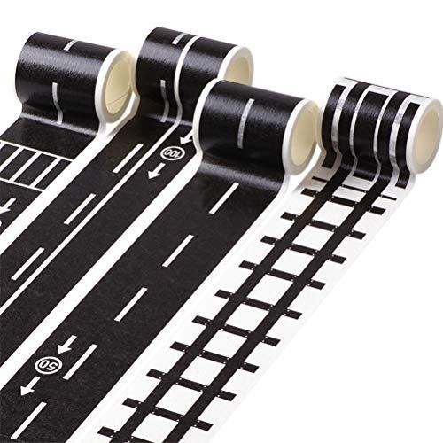 STOBOK Road Tape Autobahn Eisenbahn Straßen Klebeband DIY Abnehmbar Aufkleber für Spielzeugautos 9 Stück (Road Klebeband)