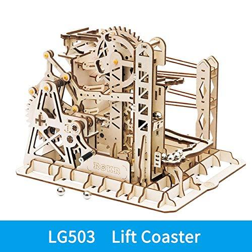 ZHANGJ Course De Marbre Course Piste De Labyrinthe Piste Bricolage Puzzle en Bois Modèle De Montagnes Russes Kit De Construction Jouets pour Enfants, Lg503, États-Unis