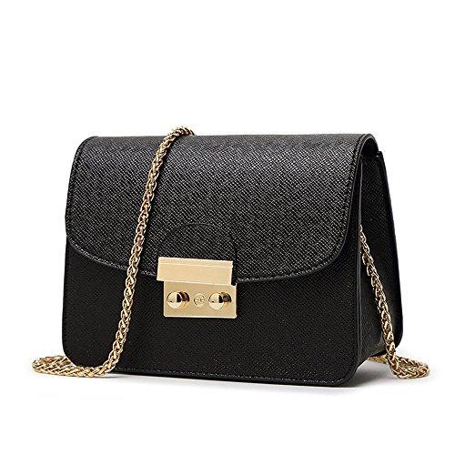 1 x Singolo sacchetto di spalla per le donne - Borsetta PU Impermeabile / Body Bag Croce Moda con la Catena per Partito / Shopping / Viaggiare - Nero