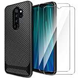 AROYI Cover Xiaomi Redmi Note 8 PRO&[2 Pack] Protettiva in Vetro Temperato,Custodia Redmi Note 8 PRO TPU Silicone Case Shock-Absorption Bumper e Anti-Scratch Back per Xiaomi Redmi Note 8 PRO-Nero