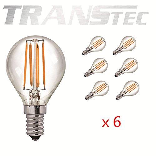 TRANSTEC 6X Vintage LED Glühfaden Birne G45 Golf-Kugel-Birne - 2W LED-Glühlampe E14 - klar warmweiß 2700 K - LED Edison Leuchtmittel Nicht dimmbar (Edison Lampe Stand)