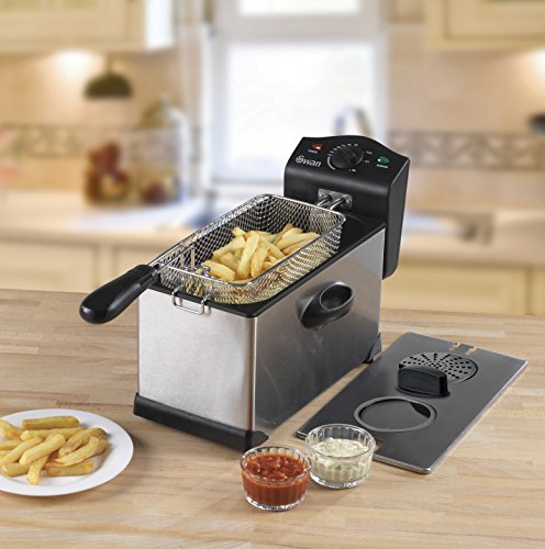 512TLB0dE0L - Swan 3L Stainless Steel Deep Fat Fryer with Viewing Window and Safety Cut Out, Non-Slip, Easy Clean and Adjustable Temperature Control, 2kW, SD6040N, 2000 W, 3 liters, Silver