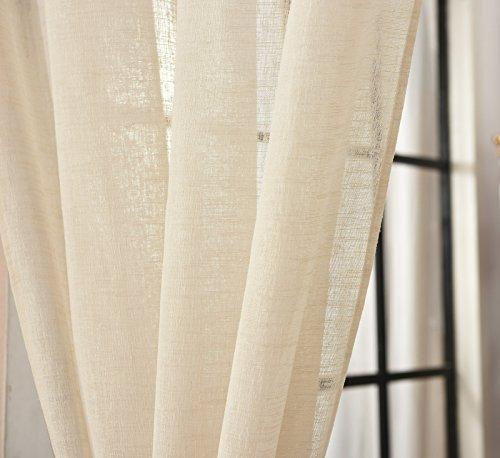 EUGAD 2er Set Gardinen Vorhang Transparent Schlaufen Schal Leinen Landhaus  Stores Lichtdurchlässig Fensterschal Dekoschal Küche Wohnzimmer