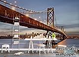Mural De Papel Tapiz 3D Rollos De Papel De Pared American Building Bridge Vista Nocturna Decoración Para El Hogar Tv Cabezal De Cama Fondo De Pantalla, 150 Cm X 105 Cm