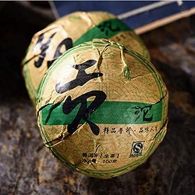 Thé de Yunnan Pu-erh Thé Puer 100g (0.22LB) Gâteau de thé Sheng Pu Erh Gâteaux de thé Pu Erh cru Thé vert Thé chinois Thé de thé Thé cru Sheng cha Nourriture saine Nourriture verte Vieux arbres Thé Puh